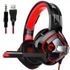 Gaming Headphone Stereo Anti-noise Headset Heavy Bass for PC Laptop Phone A66 black and red breathing light single plug version