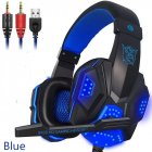 Gaming Headset Head-mounted Luminous 3.5mm Lightweight Headphone dark blue