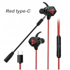 Gaming Headset With Double Detachable MIC Microphone Sets For PS4 PC Laptop Black-red type-C interface