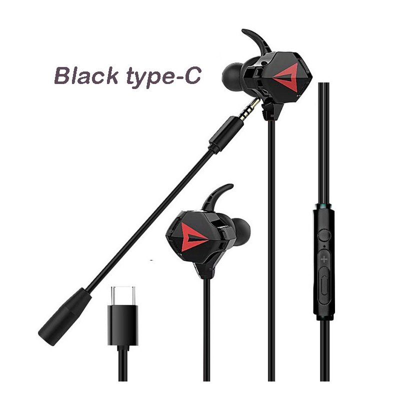 Gaming Headset With Double Detachable MIC Microphone Sets For PS4 PC Laptop Black type-C interface