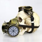 Gas Mask Goggle Toy with Rivets Decor Halloween Props Gold