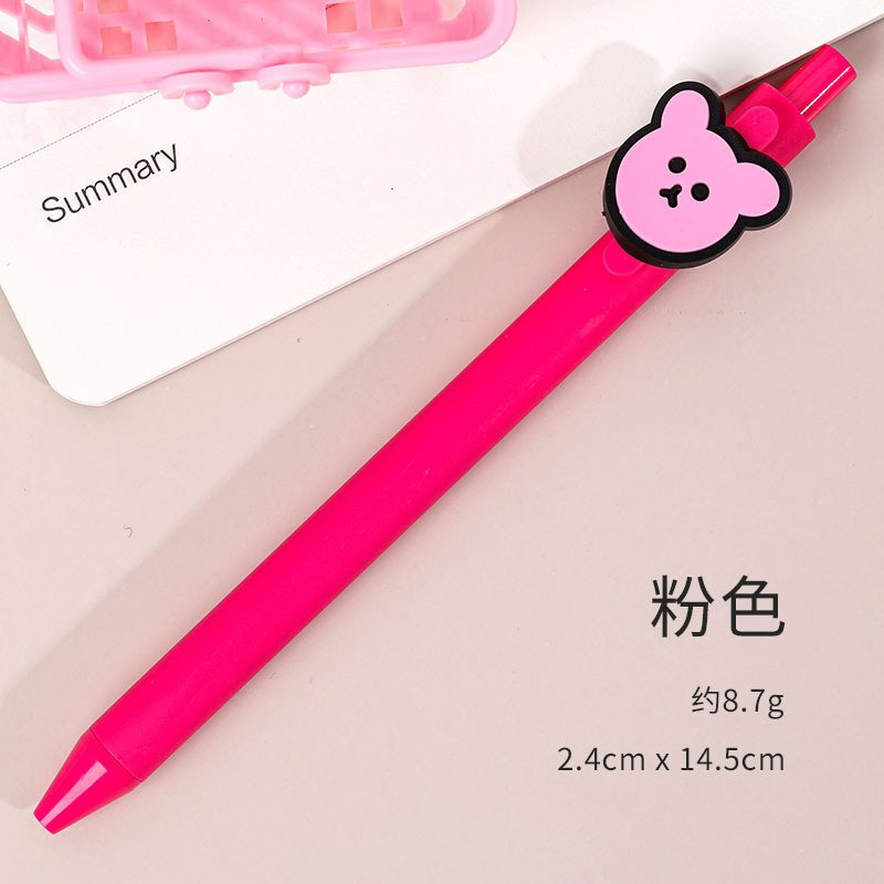 Gel Pen Press Style Cartoon Ballpoint Pen for School Writing Stationery Pink_0.5mm