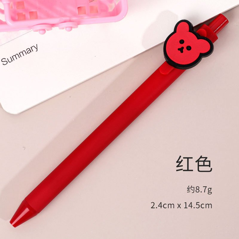 Gel Pen Press Style Cartoon Ballpoint Pen for School Writing Stationery red_0.5mm