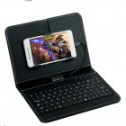 General Wired Keyboard Flip Holster Case for Andriod Mobile Phone 4 8 6 0  black