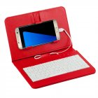 General Wired Keyboard Flip Holster Case for Andriod Mobile Phone 4 8 6 0  red