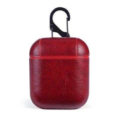 Leather Airpods Protective Case - Red
