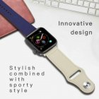 Genuine Leather iWatch Strap for Apple Watch Band Series 4 3 2 1 38/42mm Blue + white_For 42mm or 44mm iWatch