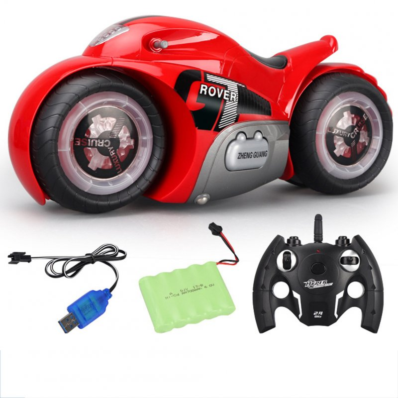 Gesture Sensor RC Motorcycle Watch Twist Remote Control Motorcycle Light Music Drift Stunt Vehicle red