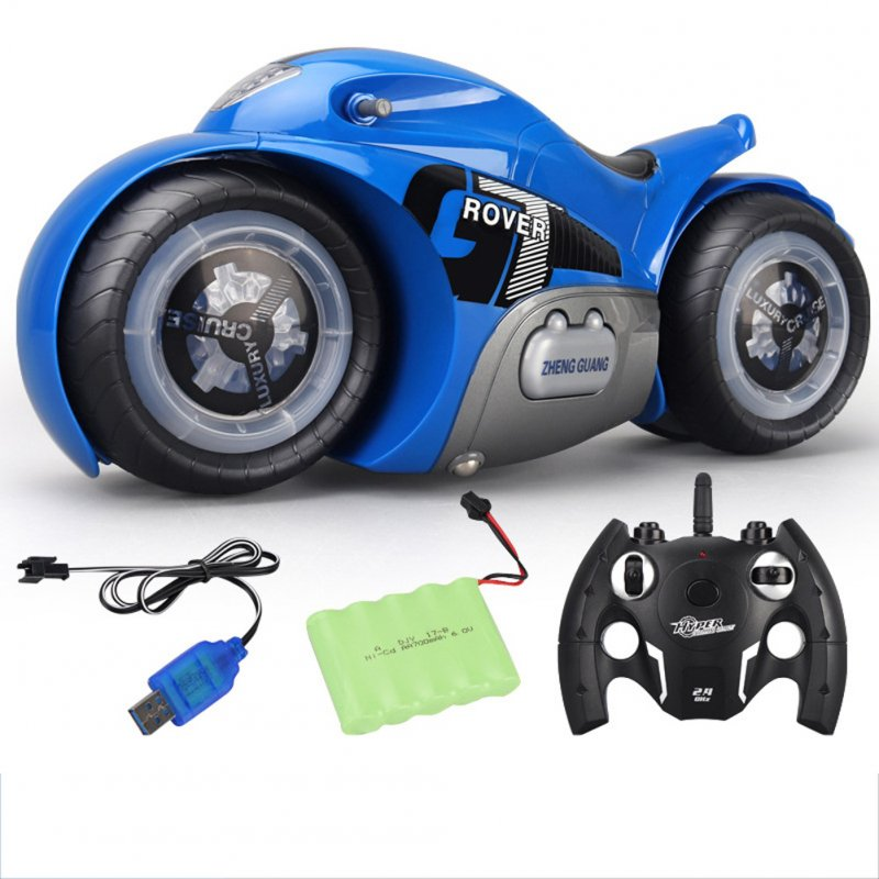 Gesture Sensor RC Motorcycle Watch Twist Remote Control Motorcycle Light Music Drift Stunt Vehicle blue