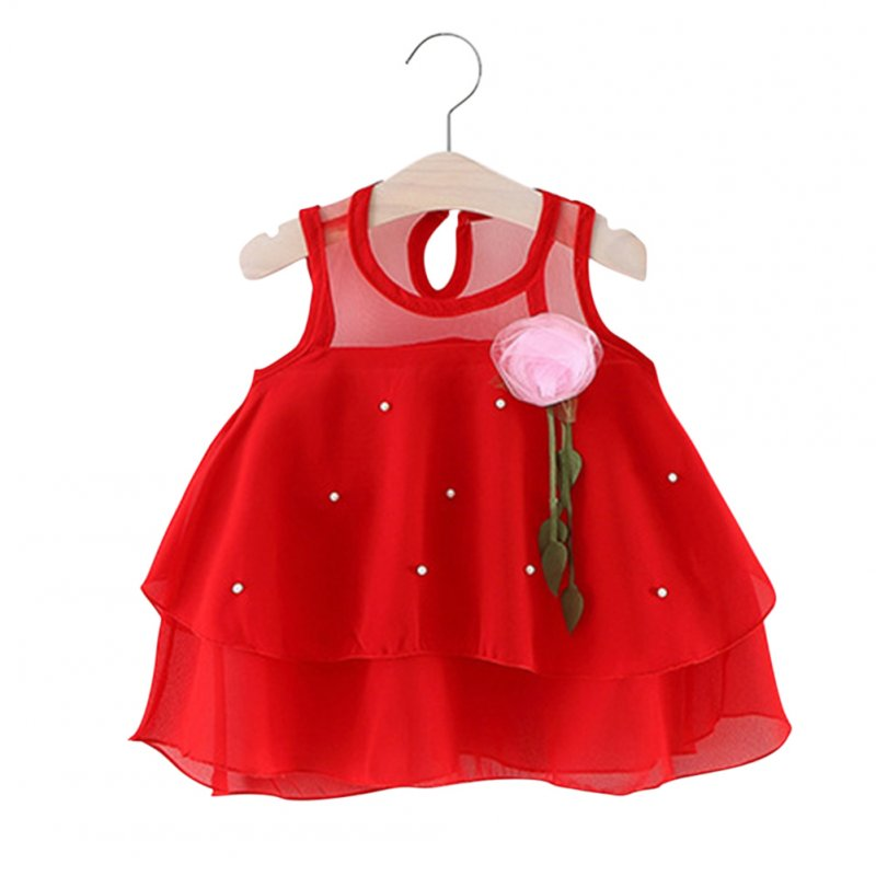 Girl Breathable Chiffon Sleeveless Princess Dress red_90cm