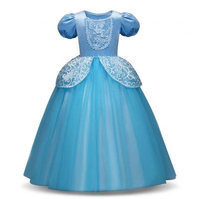Girl Delicate Lace Long Dress Elegant Lovely Fluffy Princess Dress for Halloween Show blue_110cm