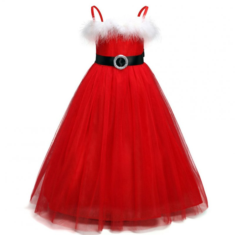 Girl Dress Christmas Solid Color Suspender Dress for 2-7 Years Old Kids red_130cm
