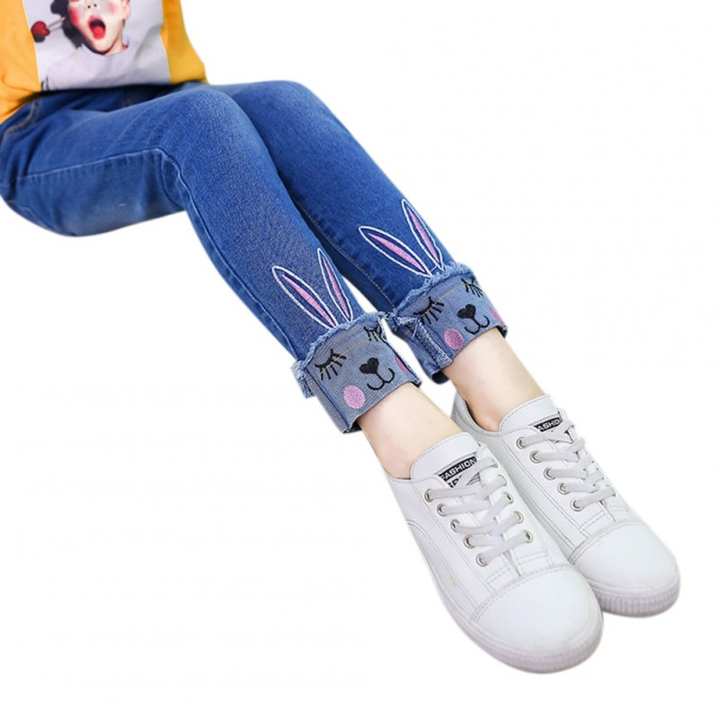 Girl Embroidered Kitten Cute Pattern Jeans