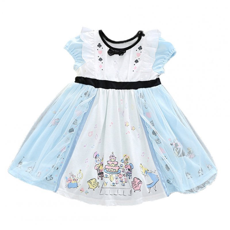 Girl Fashion Princess Cute Fluffy Yarn Dress with Bowknot Short Sleeve Dress for Summer