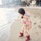 Girl Fashion Sweet Flower Pattern Children Raincoat Poncho Apricot flower_M