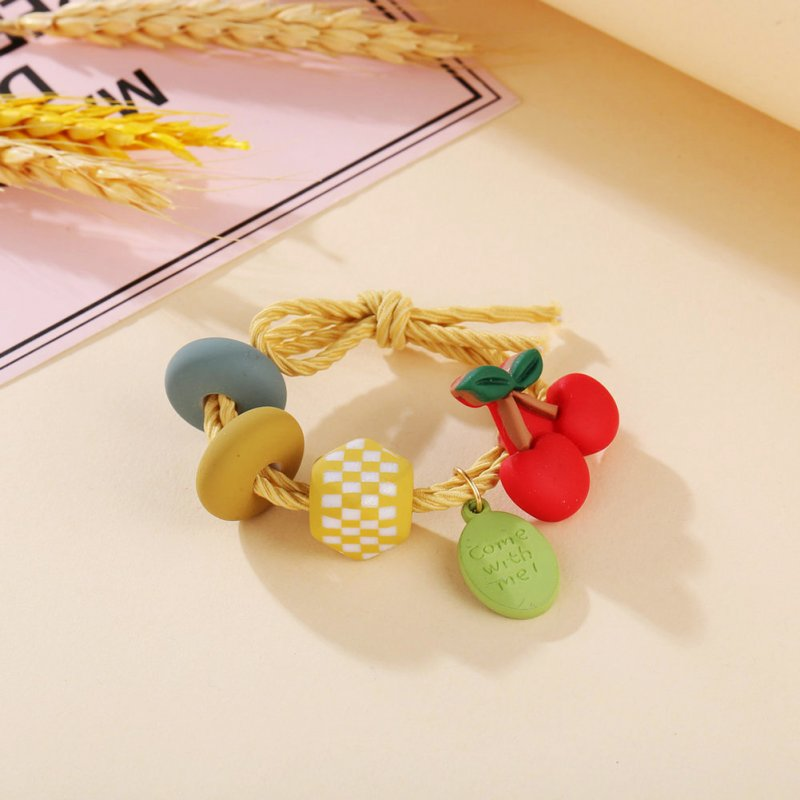 Girl Hair Rope Colorful Fruit Cute Elastic Rubber Band Ponytail Headwear Headdress Cherry