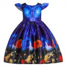 Girl Kids Full Dress Princess Style Stage Costume for Halloween Christmas Formal Dress  WS003-blue_130cm