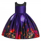 Girl Kids Full Dress Princess Style Stage Costume for Halloween Christmas Formal Dress  WS007-purple_150cm
