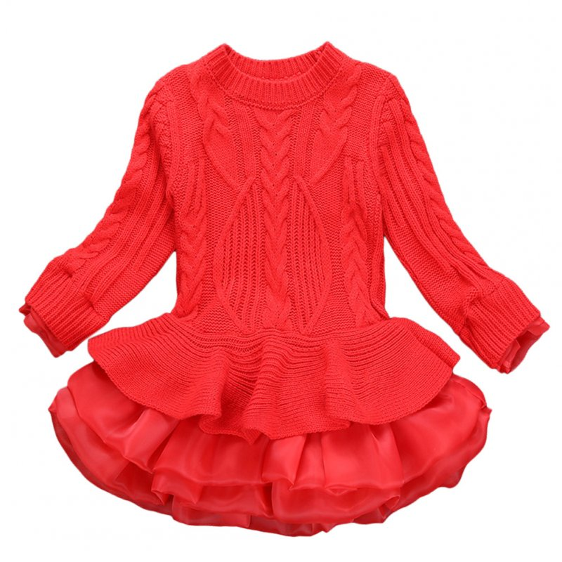 Girl Knitted Long Sleeve Sweater Dress Princess Style Organza Skirt Kids Outfits Birthday Christmas Gift