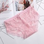 Girl Panties Lace Floral Briefs Bowknot Lady Lingerie Sexy Underwear Underpants dark pink_One size