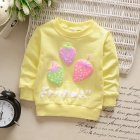 Girl T Shirt Strawberry Print Bottoming Long sleeved Shirt Round Collar Infant Pullover  TX yellow 73CM