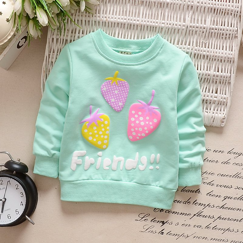 Girl T-Shirt Strawberry Print Bottoming Long-sleeved Shirt Round Collar Infant Pullover  TX-Blue_90CM