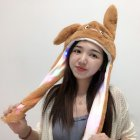 Girl Women Cute Funny Cartoon Hat with Moving Ears for Summer Chinchilla (brown)