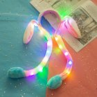 Girl Women Cute Moving Luminescent Rabbit Ear Hair Hoop Plush Airbag Hair Band Ornaments Blue luminous with zipper