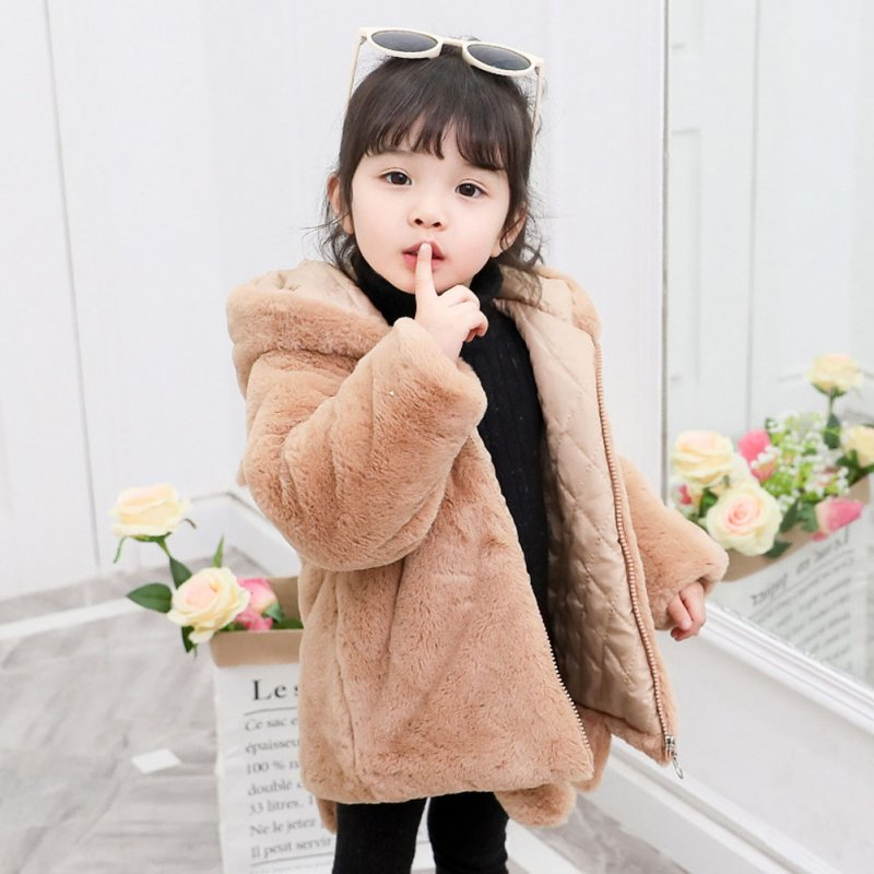 Girl's Cute Cartoon Ear Thickened Long Sleeve Coat Jacket with Tail for Campus Casual  brown_140cm