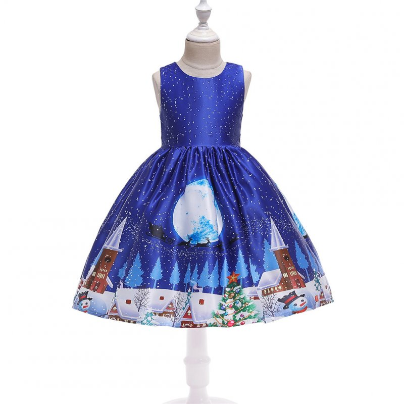 Girls Dress Christmas Short-sleeve Printed Satin Dress for 3-9 Years Old Kids Figure 4_110cm