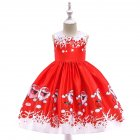 Girls Dress Christmas Short sleeve Printed Satin Dress for 3 9 Years Old Kids SD036B red 140cm