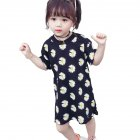Girls Dress Cotton Daisy Short Sleeve T-shirt Dress for 2-6 Years Old Kids black_130cm