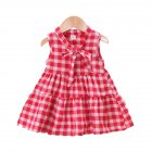 Girls Dress Cotton Sleeveless Plaid Skirt for 0 3 Years Old Kids red M