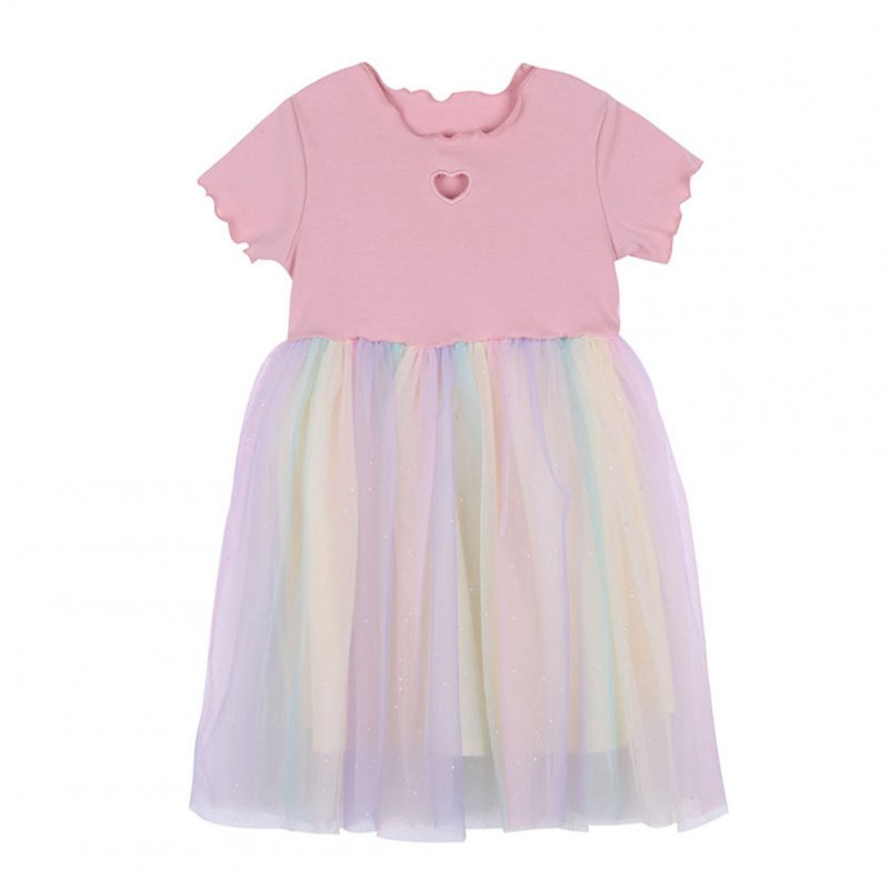Girls Dress Knitted Love-heart Pattern Short-sleeve Rainbow Mesh Skirt for 2-6 Years Old Kids Pink_130cm