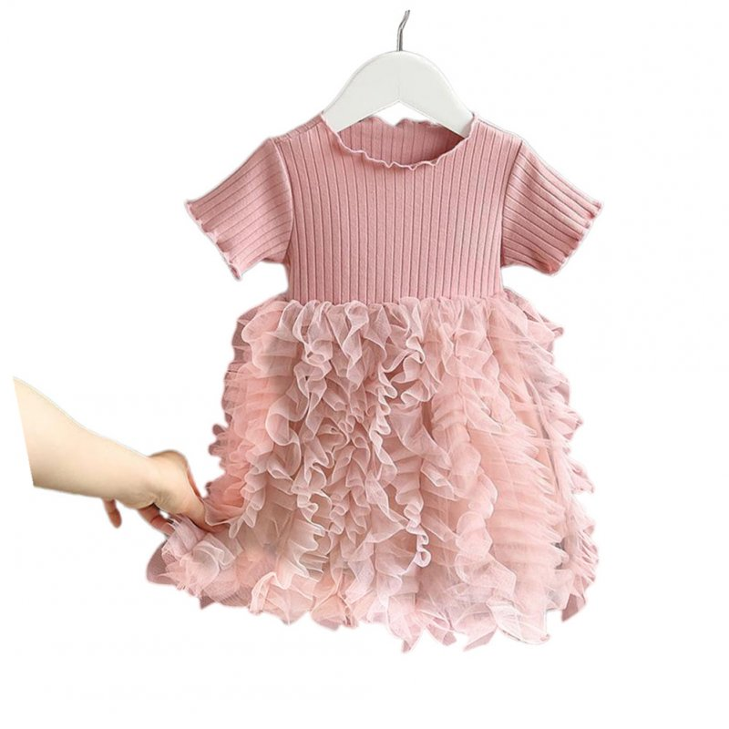 Girls Dress Knitted Short-sleeve Fluffy Yarn Cake Dress for 1-6 Years Old Kids Pink_130cm