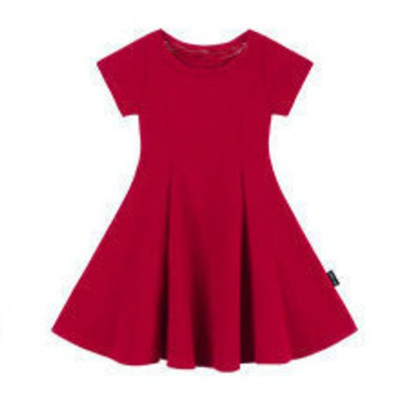 Girls Dress Pure Cotton Solid Color Slim Dress for 2-6 Years Old Kids red_100cm