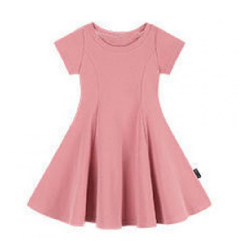 Girls Dress Pure Cotton Solid Color Slim Dress for 2-6 Years Old Kids Pink_130cm