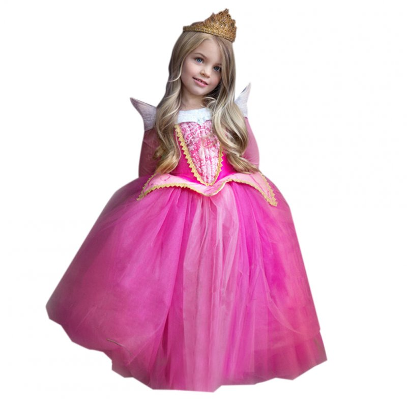 Girls Halloween Christmas Princess Dress Cosplay Dress Performance Clothes Set Pink_120cm