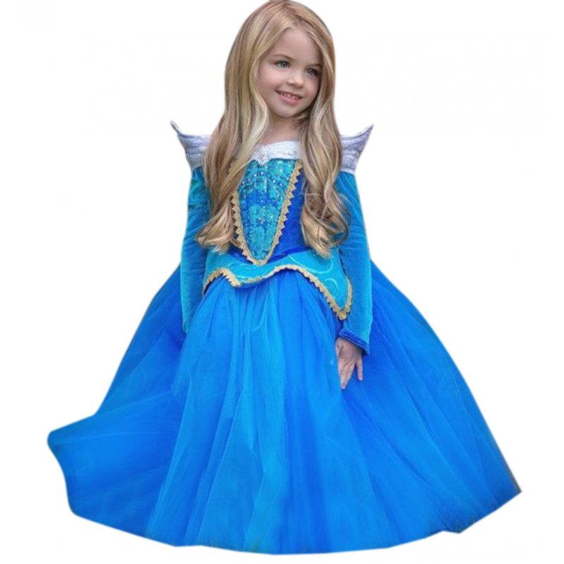 Girls Halloween Christmas Princess Dress Cosplay Dress Performance Clothes Set Light blue_110cm