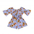 Girls Summer Cute Jumpsuit Baby Print Bows Climbing Romper  Sunflower stripes_80