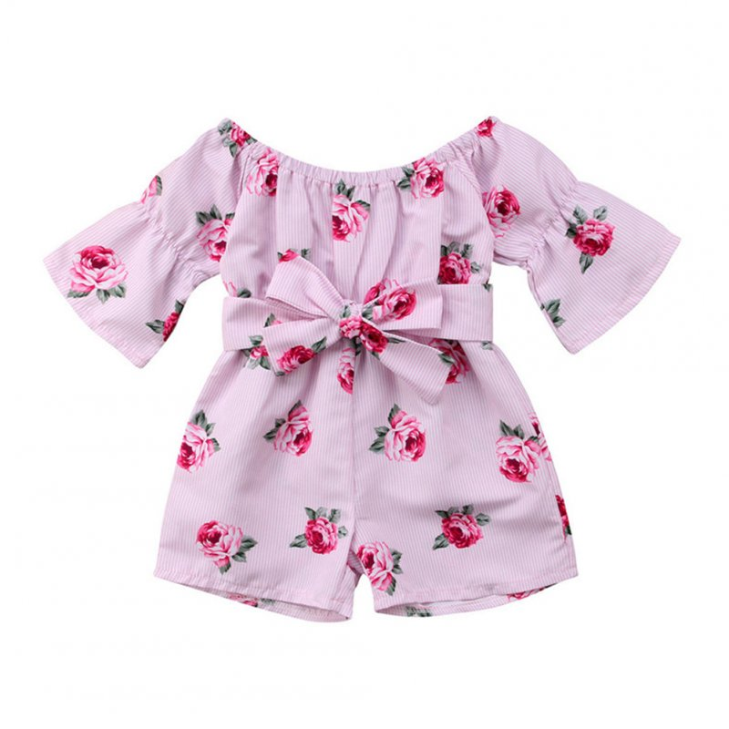 Girls Summer Cute Jumpsuit Baby Print Bows Climbing Romper  Rose red_80