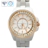 Girls White Analog Bling Diamond Watch with Gold Rim and Stainless Steel back cover