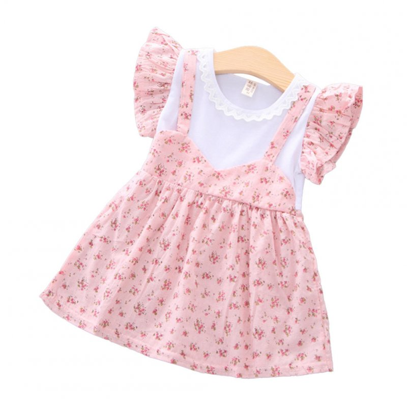 Girls dress cotton floral short-sleeve princess dress for 0-3 years old kids Pink_M