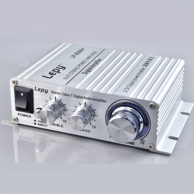 Mini Power Amplifier LP 2020A Digital Amplifier Class D High Quality Amplifier Silver + US standard 12V5A power supply
