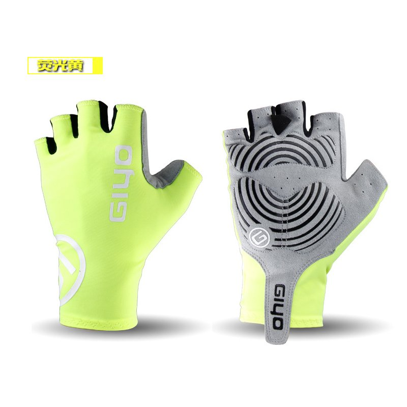 Giyo Cycle Half -finger Gloves Bicycle Race Gloves Of Bicycle Mtb Road Glove Fluorescent yellow_M