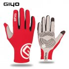 Giyo Cycling Full Finger Gloves Touch Screen Anti-slip Bicycle Bicicleta Road Bike Long Glove red_L