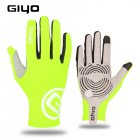 Giyo Cycling Full Finger Gloves Touch Screen Anti-slip Bicycle Bicicleta Road Bike Long Glove Fluorescent yellow_L