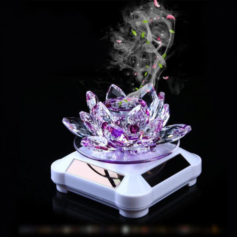 Glass Lotus Ornament with Solar Spin System Light Illuminated Base White background - purple lotus