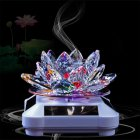 Glass Lotus Ornament with Solar Spin System Light Illuminated Base White background - colorful lotus