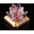 Glass Lotus Ornament with Solar Spin System Light Illuminated Base Golden bottom   colorful lotus